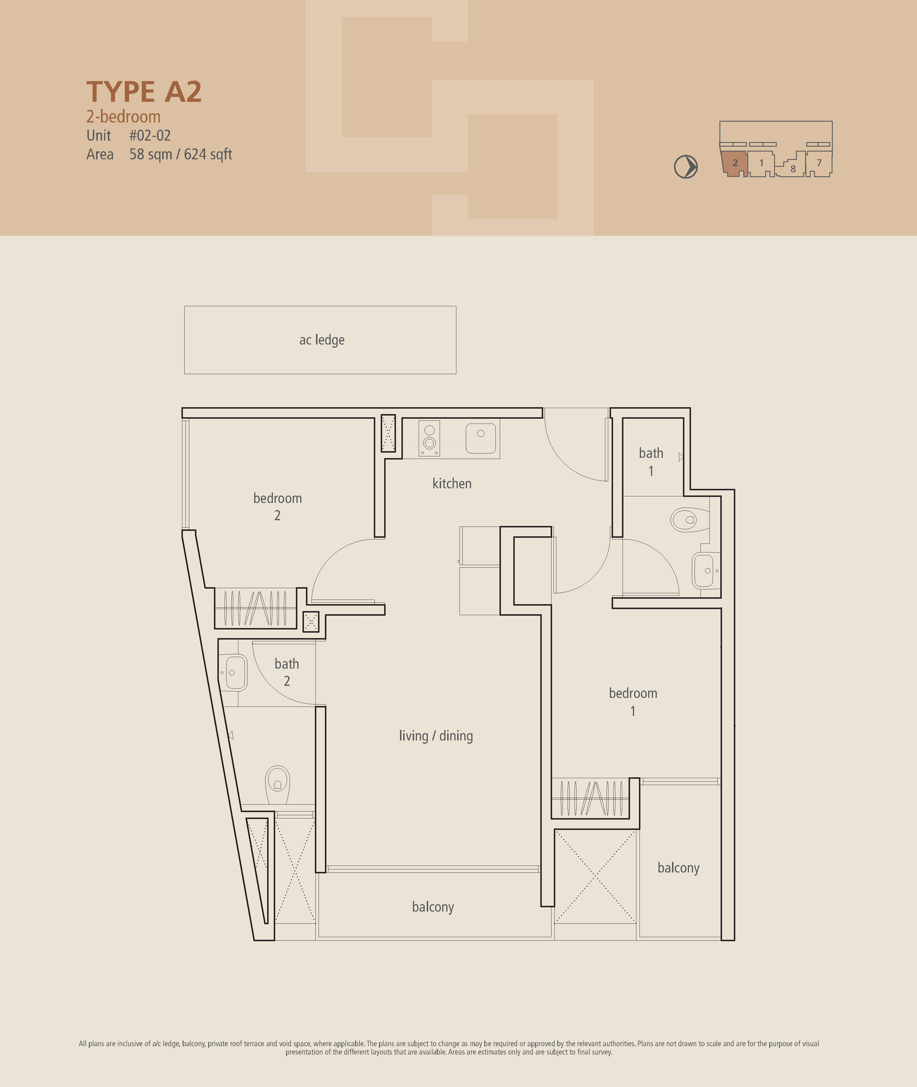The Centren 2 Bedroom Floor Plans Type A2