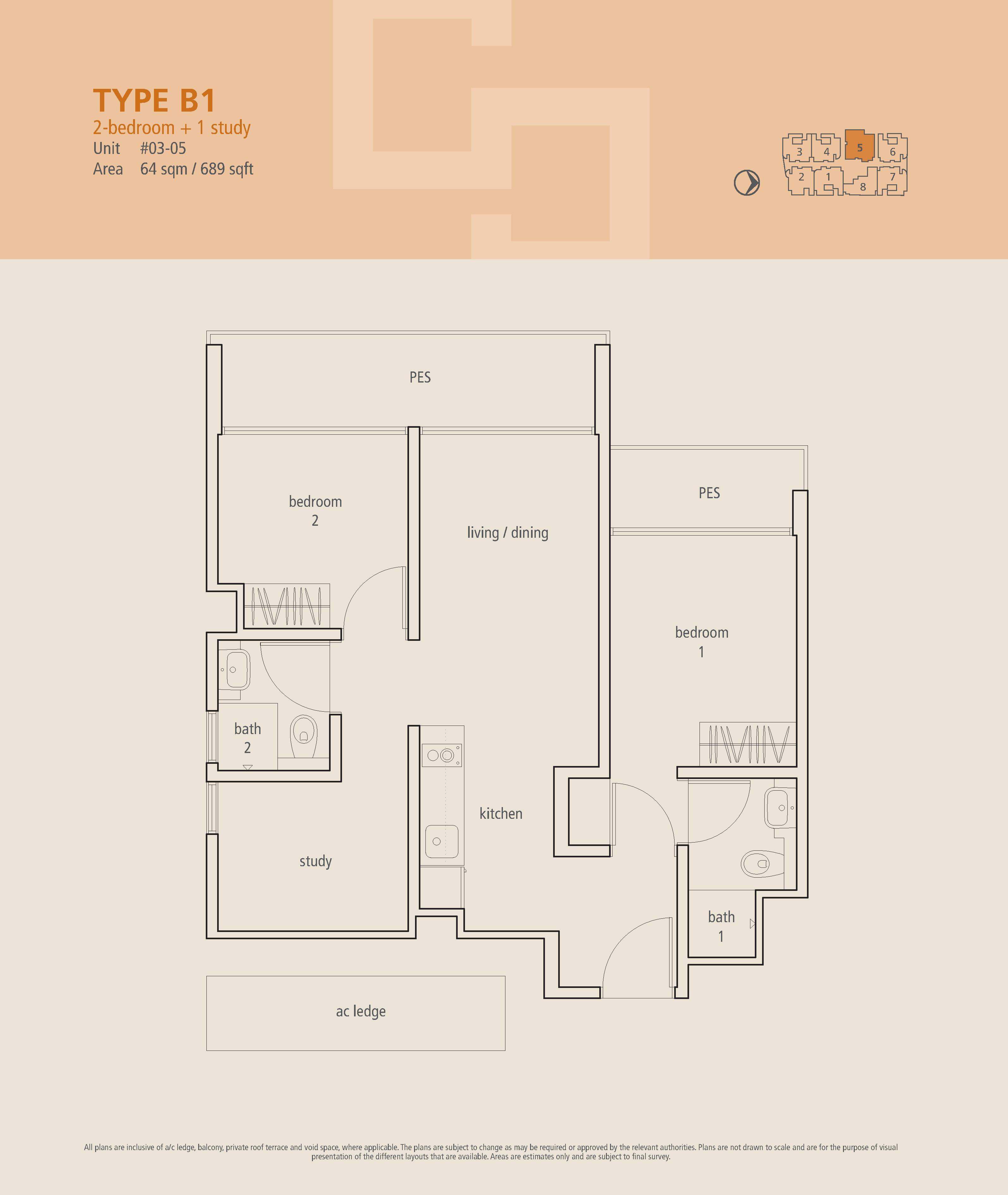 The Centren 2 Bedroom + Study Floor Plans Type B1