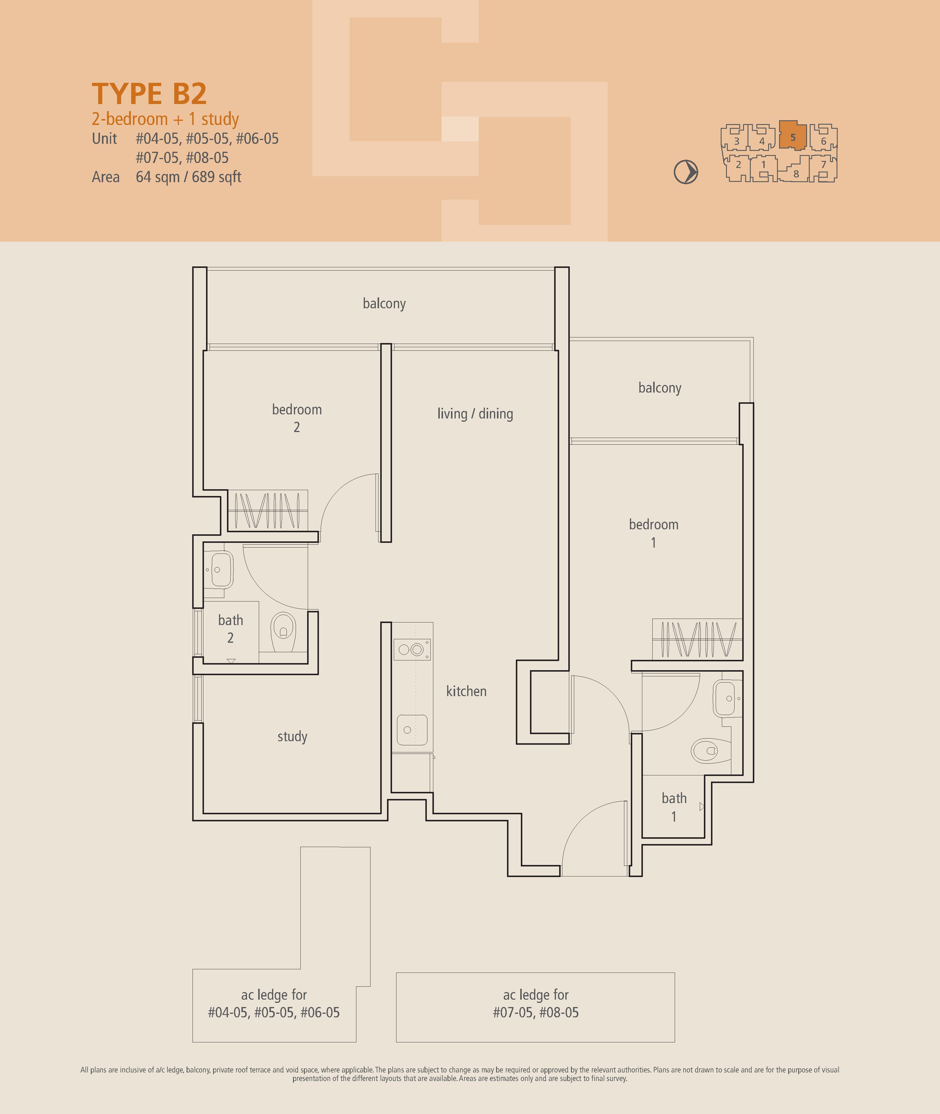 The Centren 2 Bedroom + Study Floor Plans Type B2