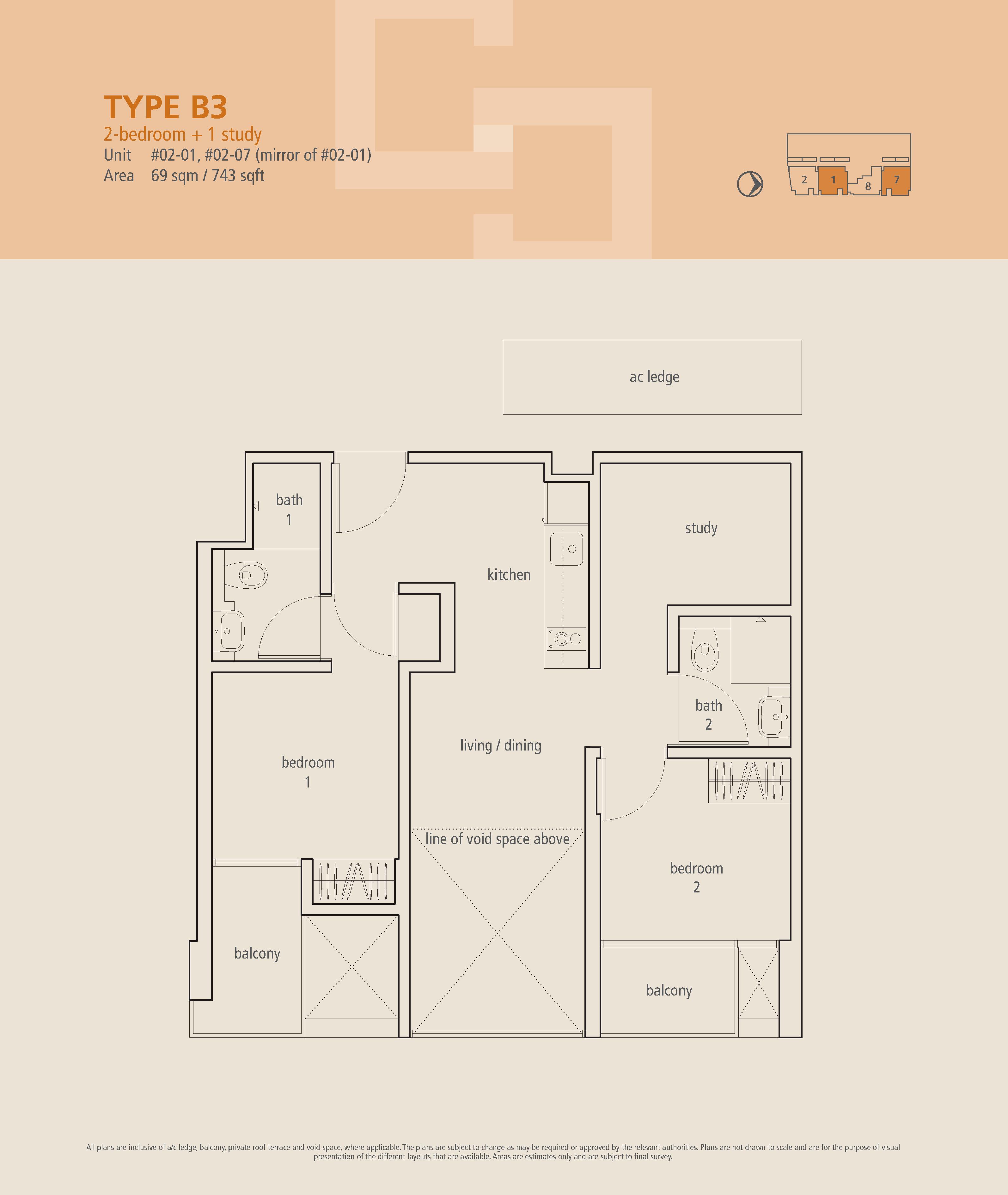The Centren 2 Bedroom + Study Floor Plans Type B3